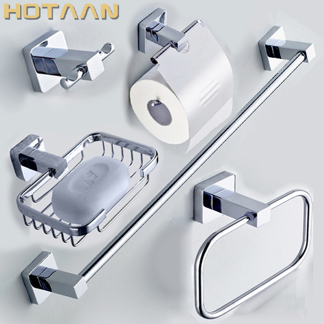 304 Stainless Steel Bathroom Accessories Set Robe Hook Paper Holder Towel Bar Sets Acessorios Do Banheiro Bath Ing