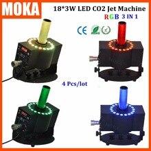 4 Unids/lote 18 unids * 3 W LED RGB efecto co2 CO2 Máquina de Chorro de CO2 LED jet Cannon shot blaster con manguera de 8-10 m blanco Co2 máquina de niebla de humo