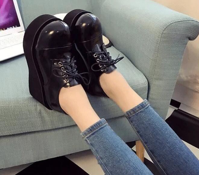 Japanese Style Women Black Wedge Heel Lolita Shoes Round Toe Ladies High Heel Wedge Pumps Cos Princess Shoes Lace Up Shoes t strap round toe women lolita wedge high heel shoes new 2017 side open japanese style wedges with buckle straps free shipping