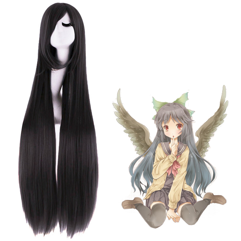 Tou Hou Project Reiuji Utsuho Straight 100cm Black Anime Costume Cosplay Wig Long Halloween Costumes Women Heat Resistant Hair