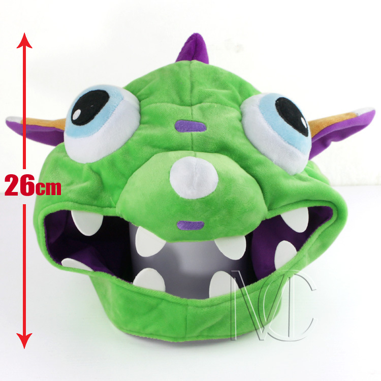 2017 New Arrival LO Game Cartoon Anime Plush COS Green Dragon Gnar The Missing Link Winter Hat Cap Cosplay Hats BS247 new cartoon pikachu cosplay cap black novelty anime pocket monster ladies dress pokemon go hat charms costume props baseball cap