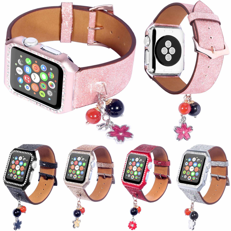 Bling Glitter skóra zegarka zespół dla Apple obserwować serii 1/2/3 pasek pas bransoletka 42mm 38mm diamentowa pokrywa dla Apple Watch Case