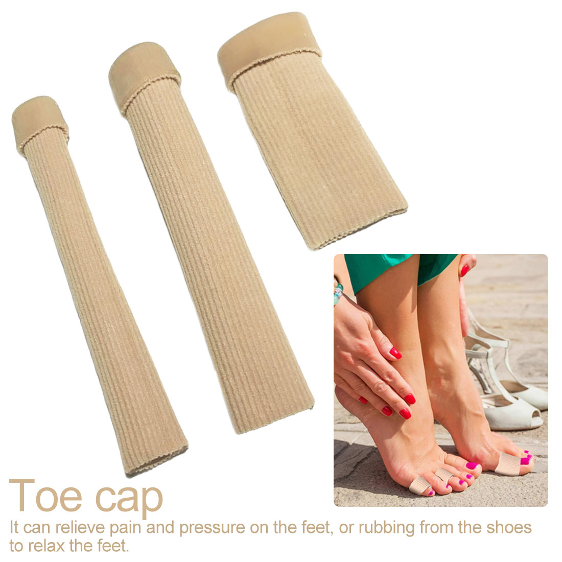 1  Toes Finger Protector Fabric Gel Tube Bunion Toes Finger Separator Calluses Corns Blister Protector Cap Cover Foot Care