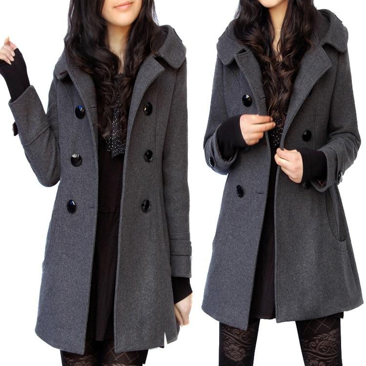 De moda Casual de invierno de la chaqueta de piel elegante, Casaco Feminino medio largo de doble pecho con capucha abrigo de corte Slim de las mujeres chaqueta abrigo fuera abrigo - 3