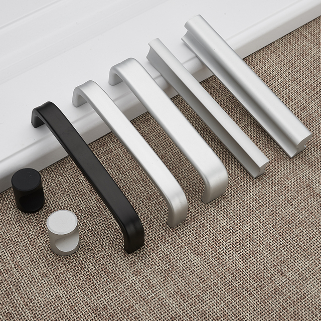 European Aluminum Cabinet Door Handles Wardrobe Cupboard Pull For Furniture Hardware Decoration 64 96 160 192 Hole