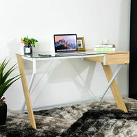 Giantex Computer Desk Laptop Table Glass Top Wood Metal Frame Home Office Furniture New Commercial Furniture HW58312