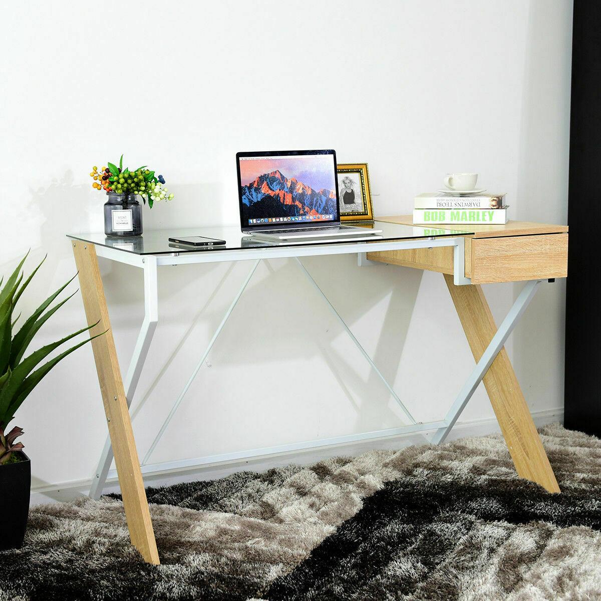 Giantex ordinateur bureau table d'ordinateur portable en verre Top bois métal cadre maison bureau meubles nouveau Commercial meubles HW52843