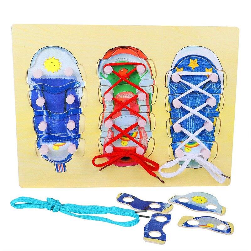 Puzzel Schoenen Vetersluiting Montessori Educatief Speelgoed Kinderen 3-4-5 Jaar Oude Jongens En Meisjes Speciaal Speelgoed Dingen Gemakkelijk Maken Voor Klanten