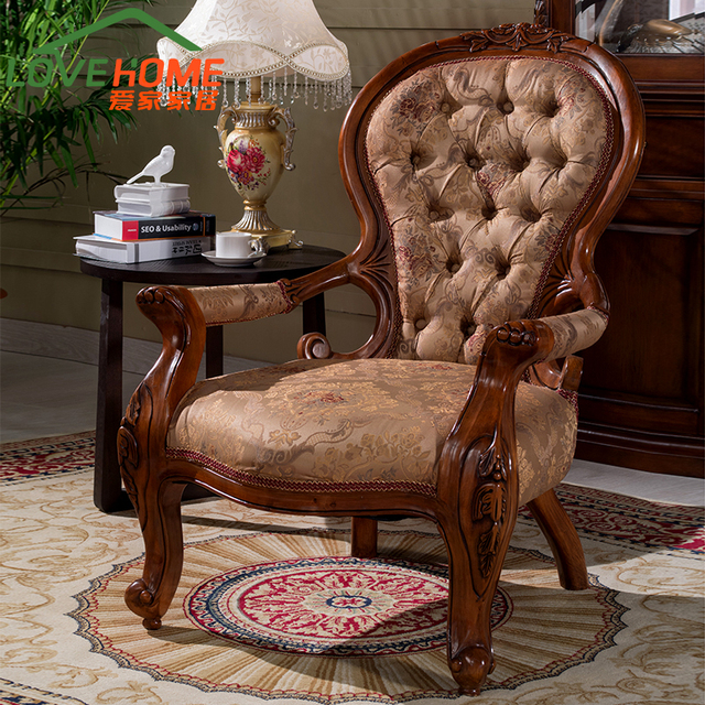 American Casual Chair Computer All Solid Wood Sofa European Single Book  Carved Recliner