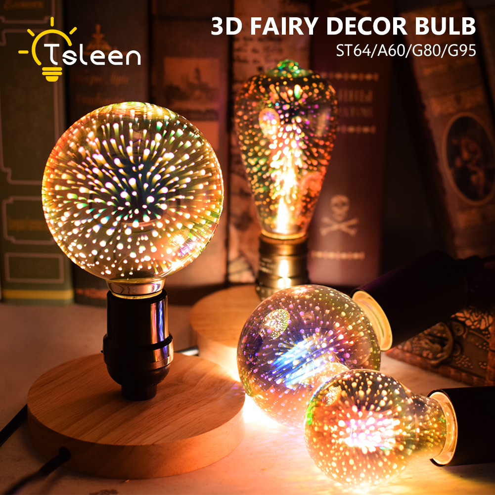 TSLEEN A60 ST64 G80 G95 LED Light E27 3D Fireworks Retro Edison Bulb 220V 110V Party Lamp Holiday Christmas Party Decor Lights