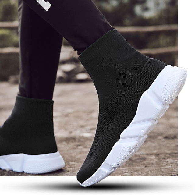 Sooneeya High Top Slip On Sock Shoes Men Breathable Anti-ski Flat Platform Sneakers Men Causal Shoes Man Trainers Footwear Tenis