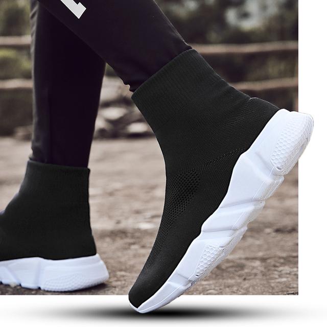 Sooneeya High Top Slip On Sock Shoes Men Breathable Anti-ski Flat Platform Sneakers Men Causal Shoes Man Trainers Footwear Tenis