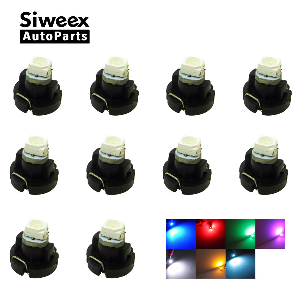 10x T3 LED 3528 SMD Car Cluster Gauges Dashboard White  Ice Blue Red Pink Green Red Instruments Panel Light Neo Wedge Bulbs