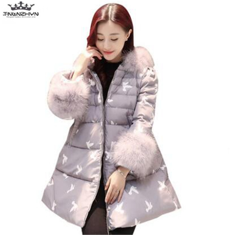 tnlnzhyn 2017 New Winter Women Coat Fashion Warm Large Fur Collar Medium long Down Cotton Jacket Thick Hooded Jacket Coats Y709 2017 winter classic fashion fur hoodie coat jacket women thick warm long sleeve cotton coats student medium long loose overcoat