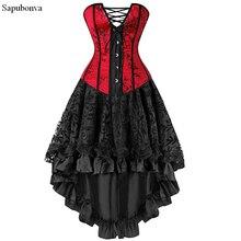 Sapubonva corsés sexys para mujer, traje de talla grande, corsé burlesco overbust y falda, conjunto de tutú, rojo Victoriano de talla grande