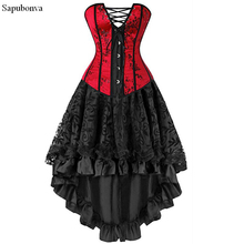 Sapubonva sexy corsets for women plus size costume overbust burlesque corset and skirt set tutu corselet victorian red plus size