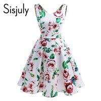 Sisjuly 50s Women Vintage Dress Summer Floral Print Sleeveless Elegant Sleeveless V Neck Backless Vintage Women