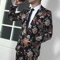 Traje Homme Nuevos Hombres Casual Vestido de Los Hombres Trajes de Moda Trajes de Flores Alcanzó Solapa Masculina Traje Conjuntos (Chaqueta + Pantalones) Ropa de la etapa