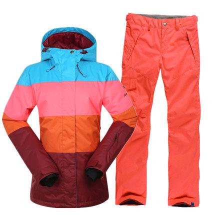 Terno de Esqui Terno para Mulheres Respirável à Prova Água-resistente ao Desgaste ao ar Jaqueta de Esqui + Calças de Esqui Novo Gsou Neve Livre Quente Grossa Tamanho Xs-l Luz d'