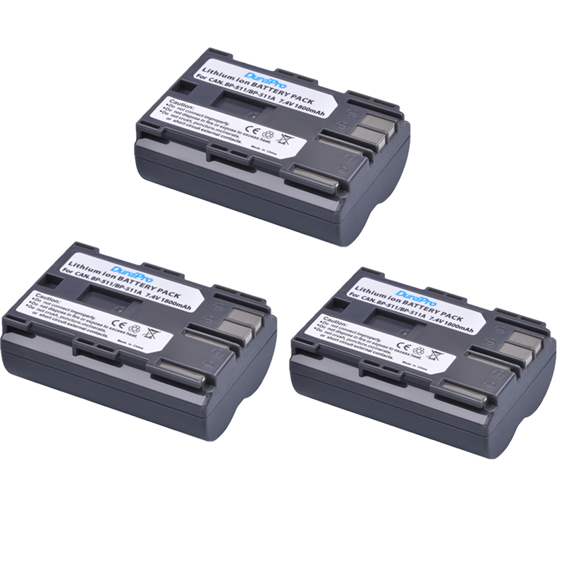 3 Pcs DuraPro 7.4V 1800mAh Hot Sell BP-511 BP511A Battery for <font><b>Canon</b></font> EOS 40D 300D <font><b>5D</b></font> 20D 30D 50D <font><b>Accessories</b></font> + Wholesale image