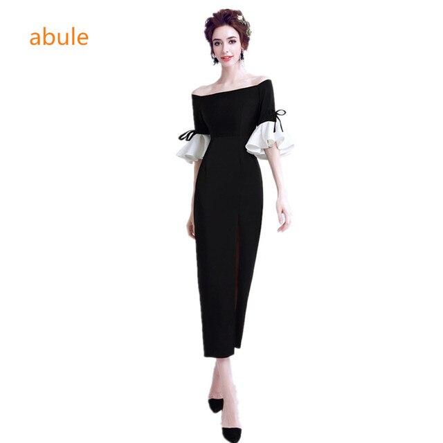 fd5a449d1f7 Abule nouveau 2018 à la mode Robes de Soirée Moderne Noir trompette manches  simple sirène Parti ...