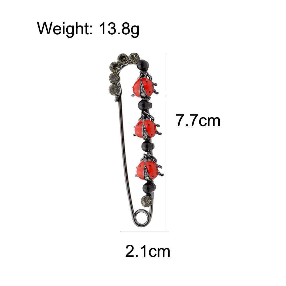 Cindy Xiang 2 Warna Tersedia Ladybug Lucu Pin Bros untuk Wanita Fashion Musim Gugur Gaya Besar Elegan Korsase Perhiasan Enamel