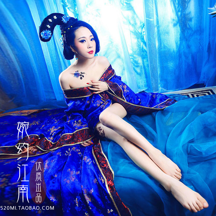 Sheng Shi Tang Chao Properous Tang Dynasty Sapphire Blue Long Tailed Princess Or Empress Costume For Women Photography Use