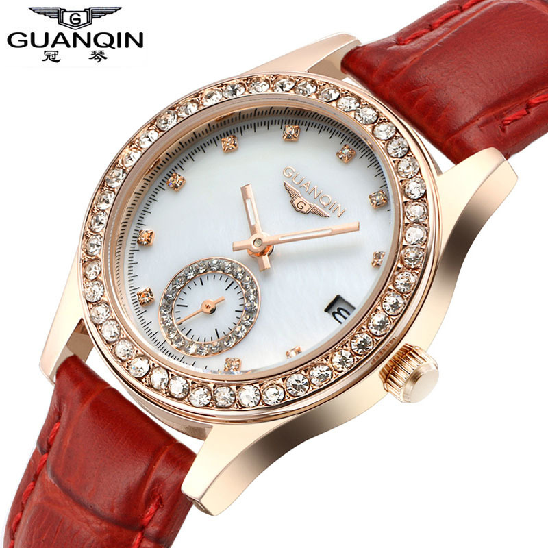 ФОТО GUANQIN Women watch luxury brand luminous waterproof fashion diamond ultra-thin women quartz watch ladies genuine leather watch