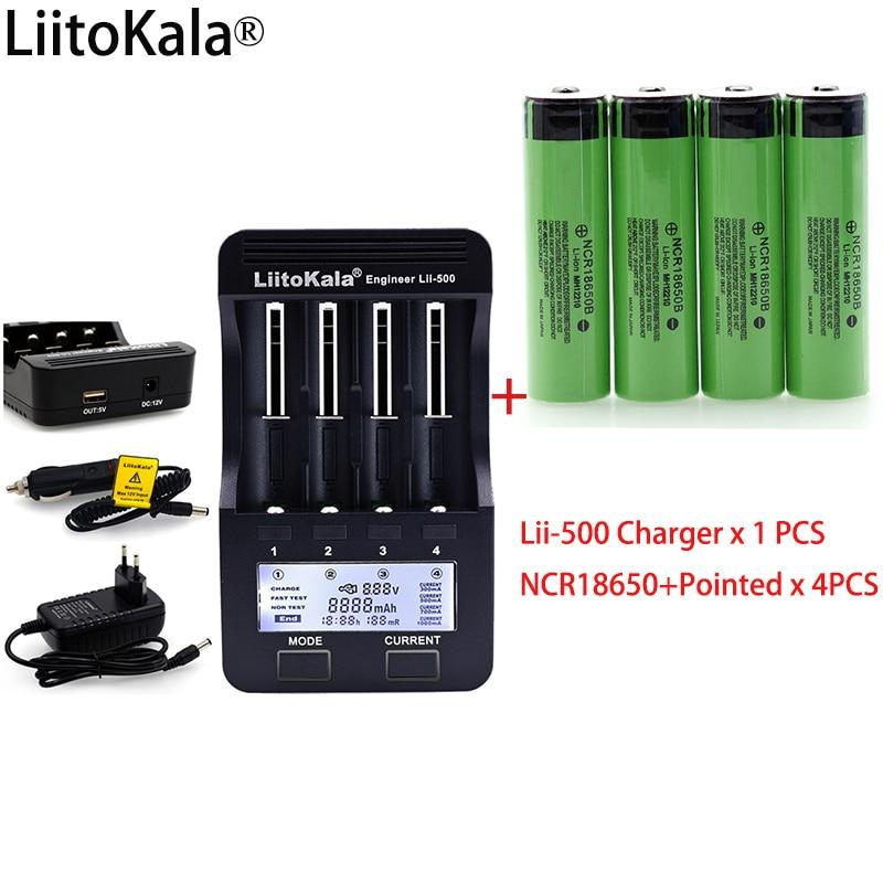 LiitoKala lii500 LCD 3,7 v 18650 26650 1,2 v AA batterie Ladegerät + 4 stücke NCR18650B 3400 mah + Spitzen für Taschenlampe batterien