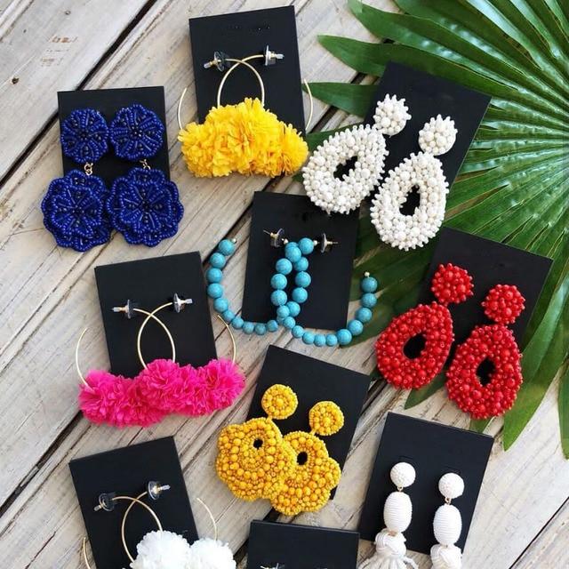 Dvacaman 2019 модные свисающие серьги для женщин Boho Ручной работы Бусины висячие серьги обувь для девочек Цветок себе ювелирные изделия подарок Любовь опт