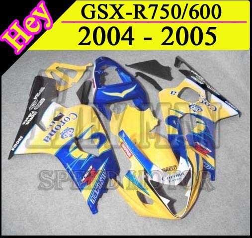 GSXR750 2005 2004 желтый Средства ухода за кожей комплект обтекатель для Suzuki GSXR600 2004 GSX-R750 05 GSX R 600 750 2004 2005 K4