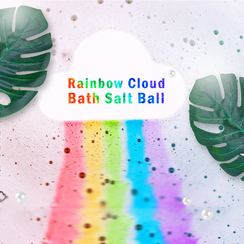 Handmade Bath Salt Ball Rainbow Natural Bath Bomb Moisturizing Bubble Bath Salt Ball Body Essential Oil Bubble Bath