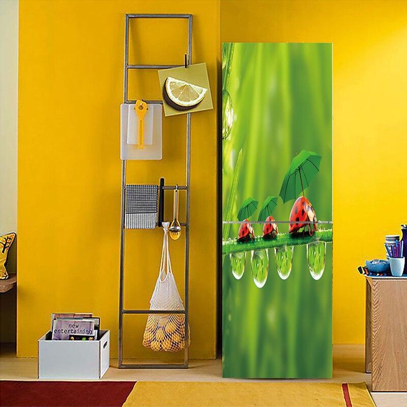 3D Vivid Effect Ladybug Landscape Pattern Fridge Sticker PVC Refrigerator Door Kitchen Self-adhesive Wall Stickers Decor