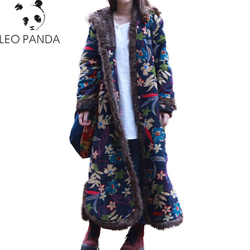 Women Chinese Style Coat Floral Quilted Jacket Cotton Padded Casual Long Outwear