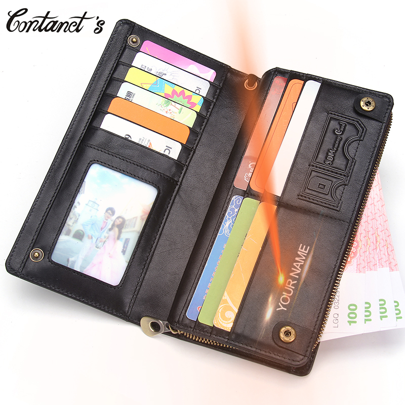Contact's Genuine Leather Men Wallet Zipper Wallets Large Capacity Man Clutch Bag Phone Card Holder Male Purse High Quality designer men wallets famous brand men long wallet clutch male money purses wrist strap wallet big capacity phone bag card holder
