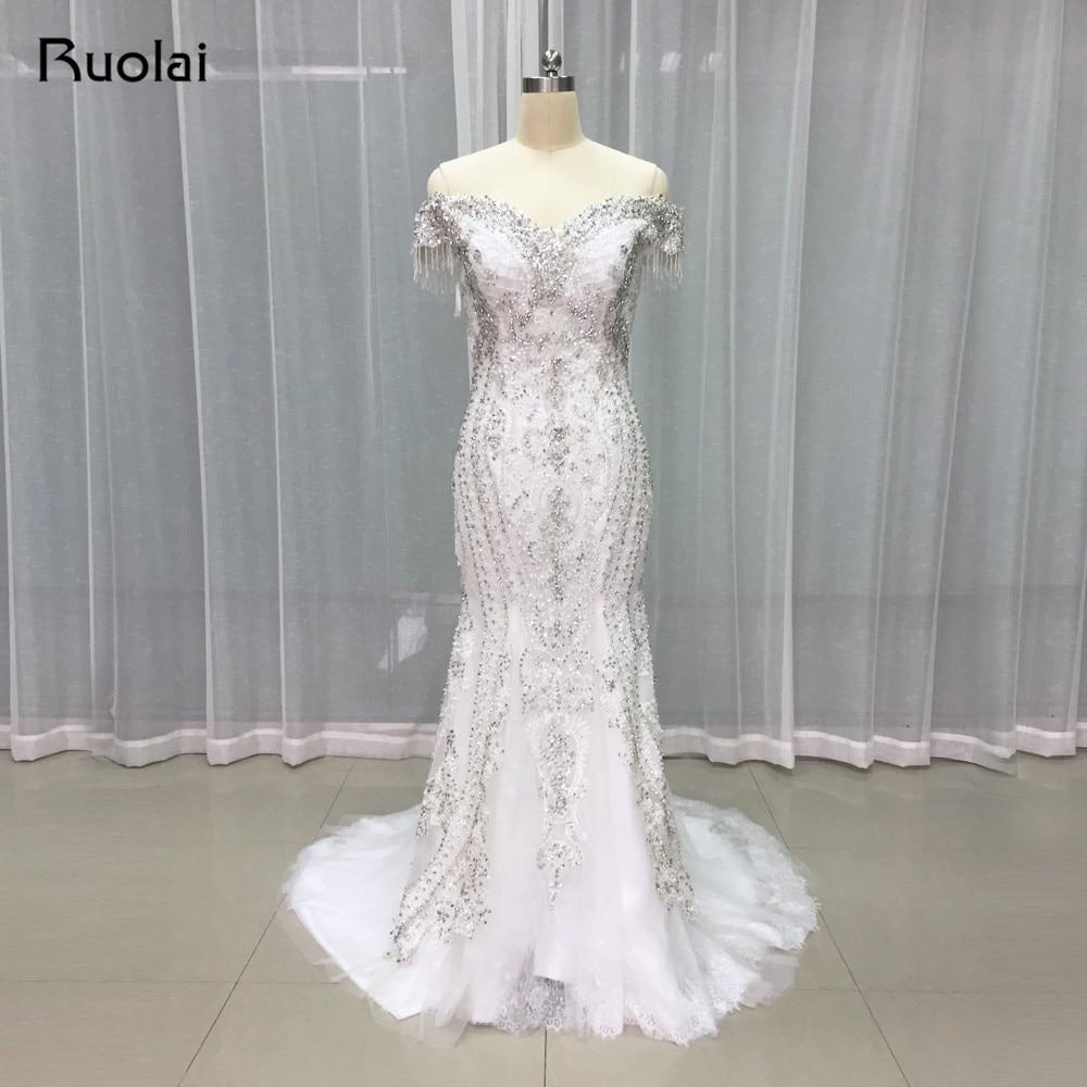 High Quality Luxury Beaded Mermaid font b Wedding b font Dresses Long Lace Off Shoulder Shiny