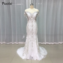 High Quality Luxury Beaded Mermaid Wedding Dresses Long Lace Off Shoulder Shiny Crystal Bridal Gown 2017 Vestido de Novia RW11