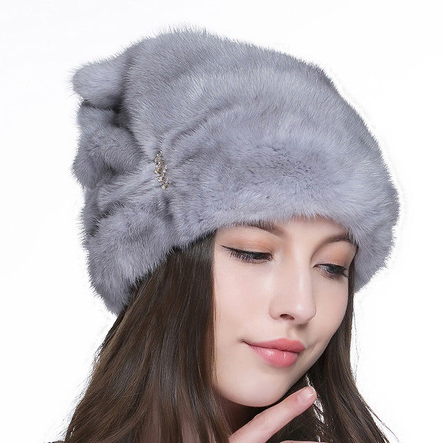 URSFUR Mink Full Fur Skull Caps Beanie Hat for Women with Fur Ball Pompoms and crystal  3 colors female luxury mink cap