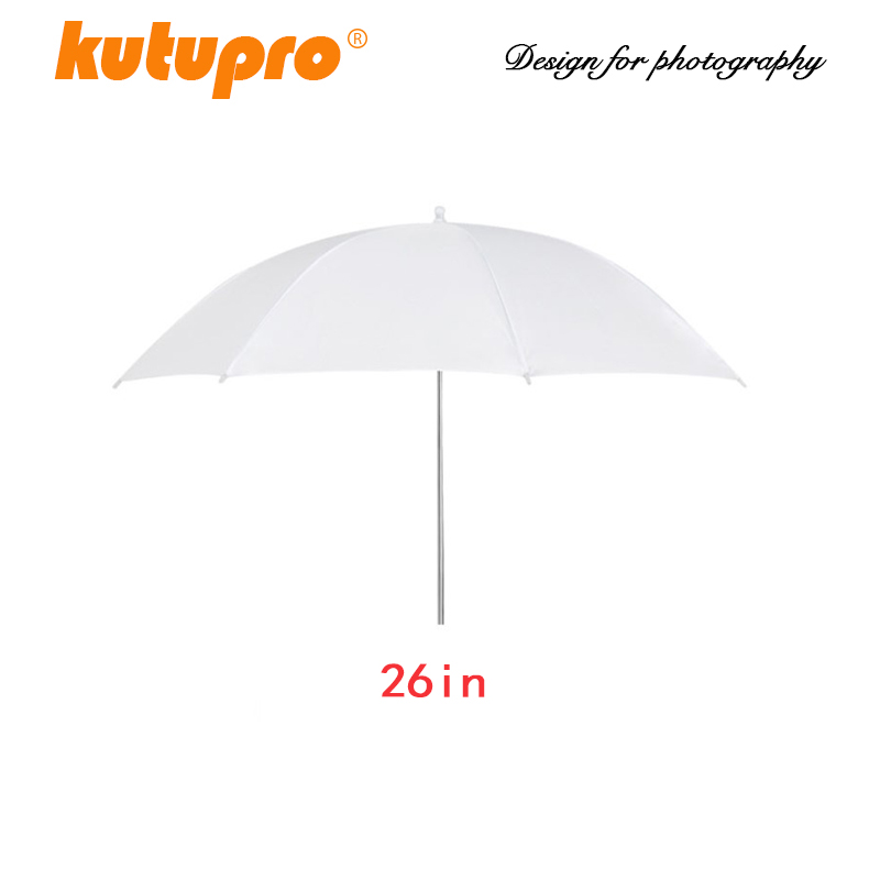 EDMTON Lightweight 26in 66cm Pro Studio Photography Flash Translucent Soft Lambency Umbrella White Nylon Material Aluminum Shaft