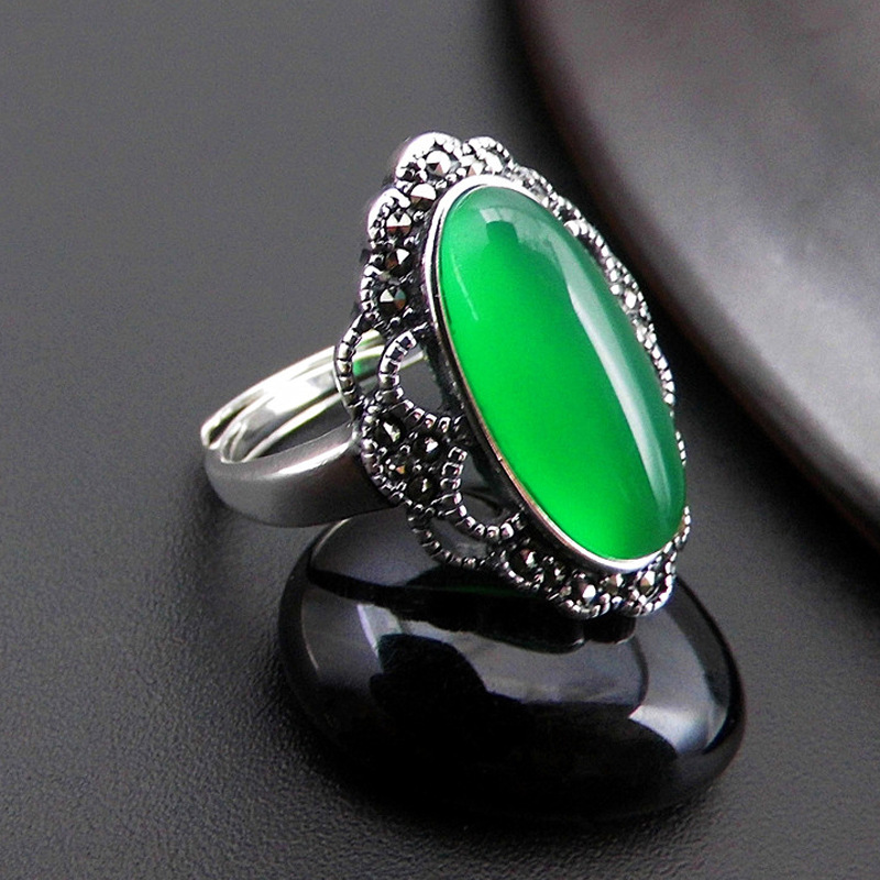 Fashion S925 Sterling Silver Retro Thai Silver Open Ended Ring Lady Exaggerated Index Finger Ring New