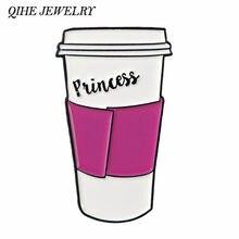 QIHE SCHMUCK Prinzessin Rosa Reise Kaffee Becher Pins Kaffee abzeichen Zu gehen tasse revers pins Broschen für kaffee liebhaber