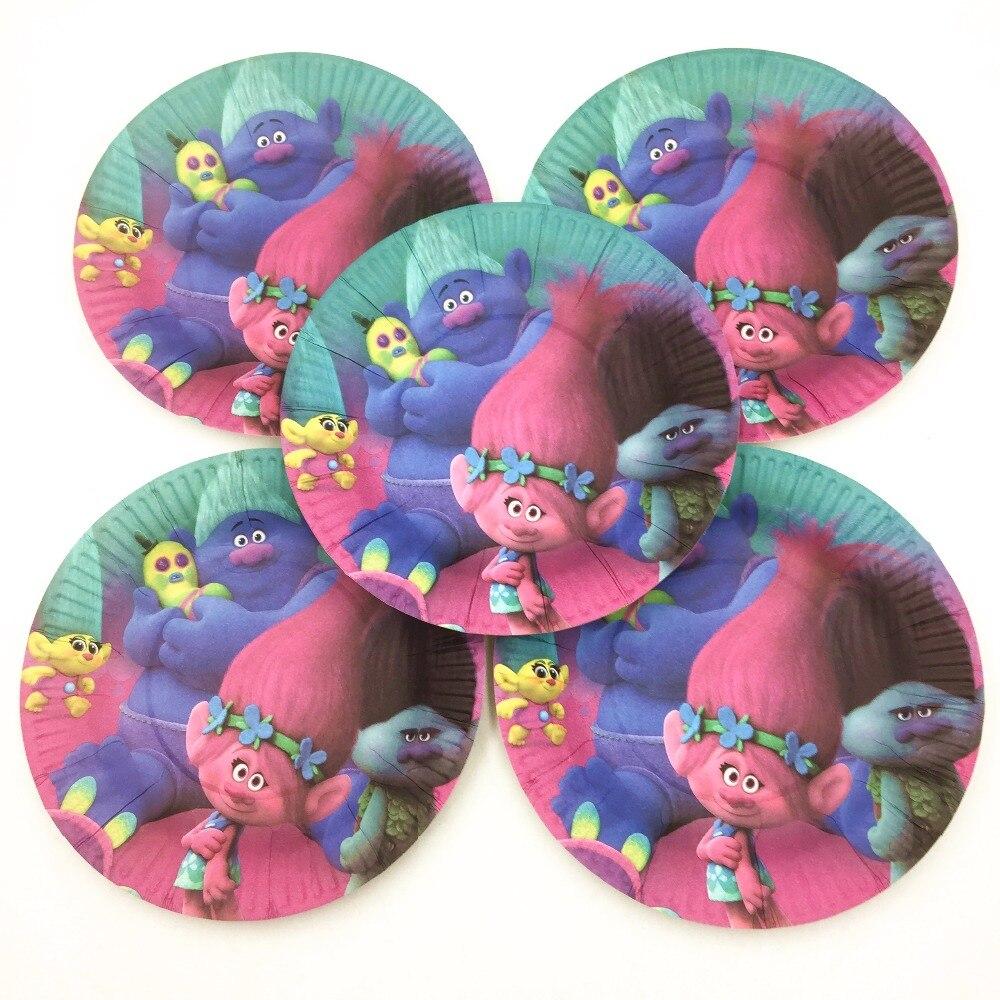 10pcs Bag Trolls Party Supplies Disposable Paper Plates