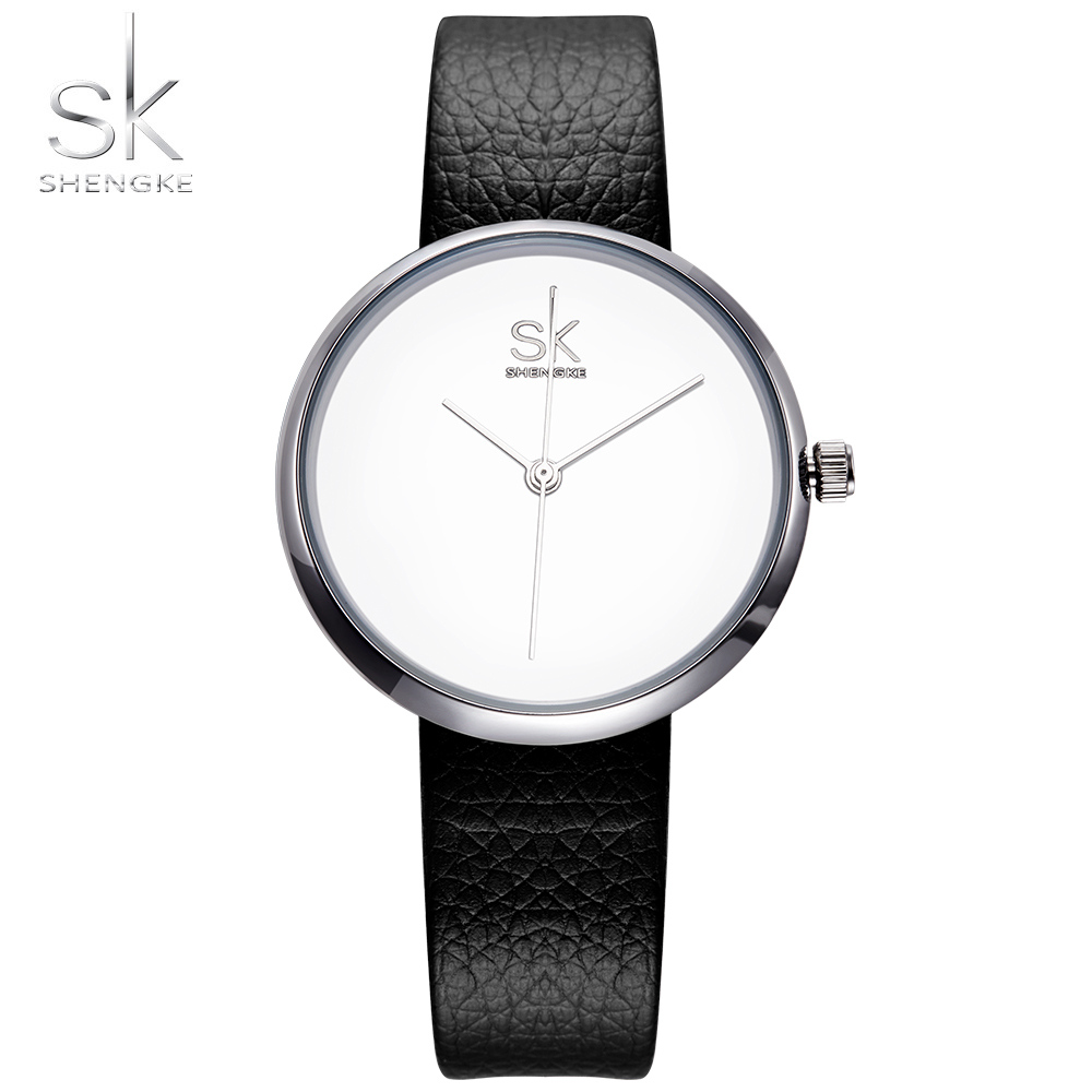 Shengke Women Watches Girls Quartz Clock Top Brand Leather Watch Causal Black White Female Wristwatch Relogio Feminino 2017 SK shengke women watches luxury brand wristwatch leather women watch fashion ladies quartz clock relogio feminino new sk