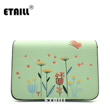 ETAILL Flowers and Butterfly Embroidered Crossbody Bag Retro Pu Leather Small Flap Bags for Women Messenger