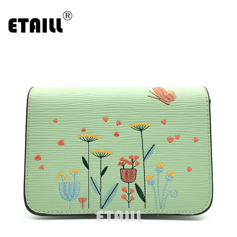 ETAILL Flowers and Butterfly Embroidered Crossbody Bag Retro Pu font b Leather b font Small Flap