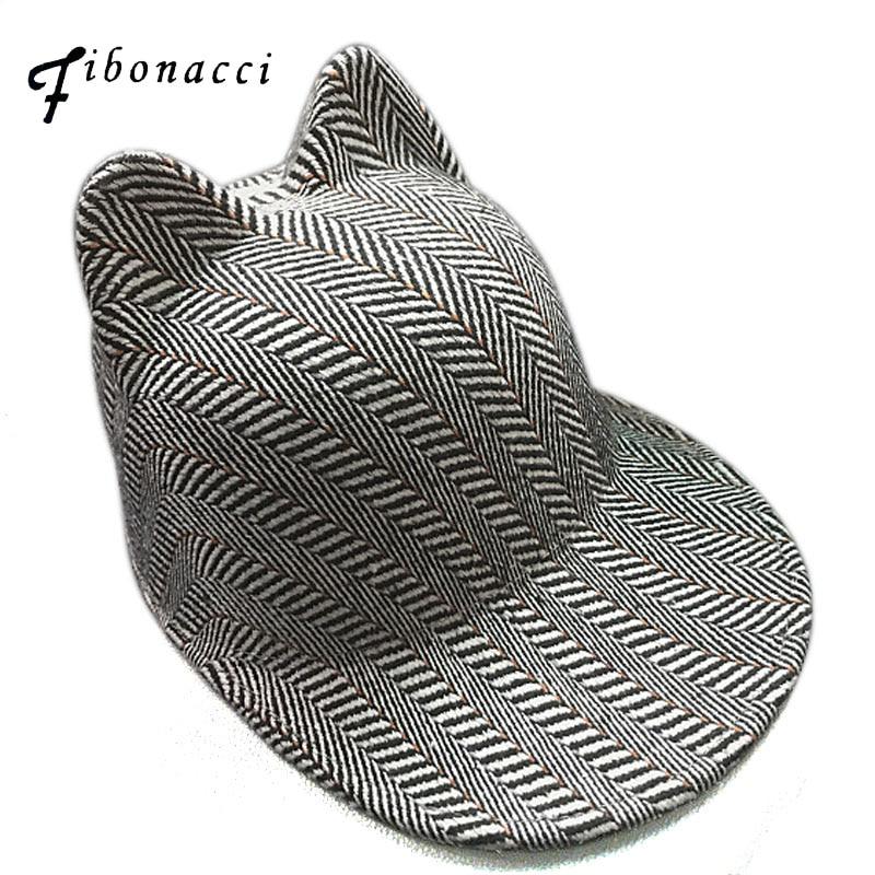 Fibonacci brand striped cat ears baseball cap high quality fashion wool mixing hat one time press molding women caps wool skullies cap hat 10pcs lot 2289