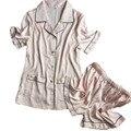 Два куска женские пижамы наборы розовый шелк короткие брюки + топы pijamas наборы с кнопки плюс размер M, L, XL, XXL девушки летние пижамы