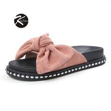 2017 Femmes Chaussures de Dames Pantoufles Papillon Cravate Confortable Flip Flops Ouvert Orteil Femmes Pantoufles Kimfoxes Chaussures Taille 35-39