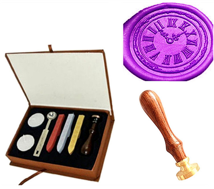 Custom Vintage Clock Cool Personalized Picture Letter Logo Retro Invitation Wax Seal Stamp Rosewood Handle Set new design your own custom picture logo letter personalized embosser stamp