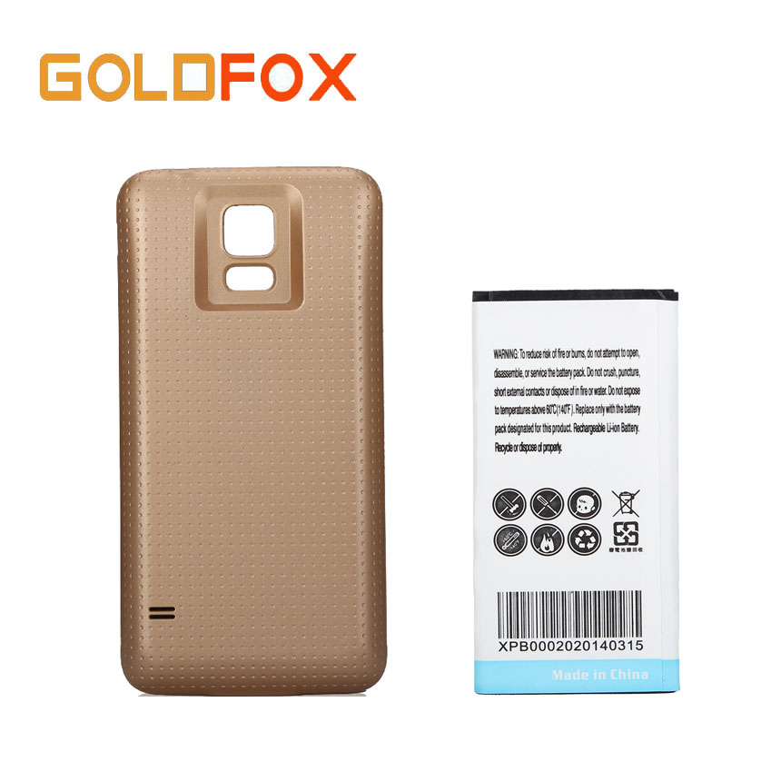 7000mAh Replacement Extended Spare Battery for Samsung S5 Phone Bateria +Gold Back Cover Case for Galaxy S5 i9600 Phone Batteria
